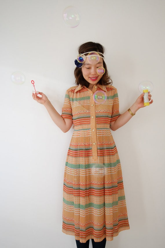 Orange light bubble vintage dress, xs - s, Japan