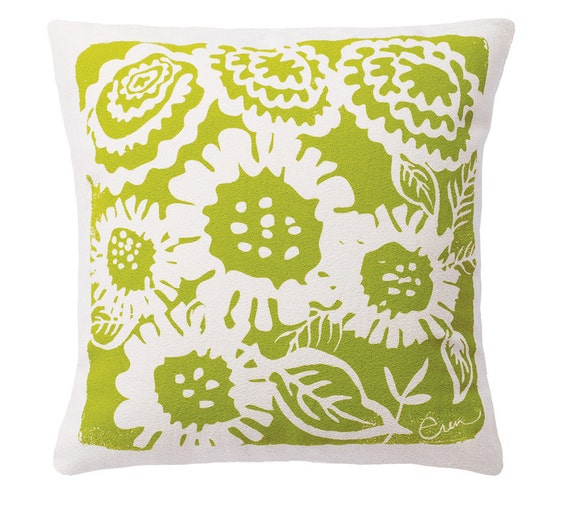 Decorative Pillow, Green, Sunflower Design, 20x20, Hand screened on Cotton Bark Cloth