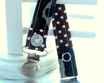 Pacifier Clip with Snaps Double Sided - camouflage with brown and white polka dots