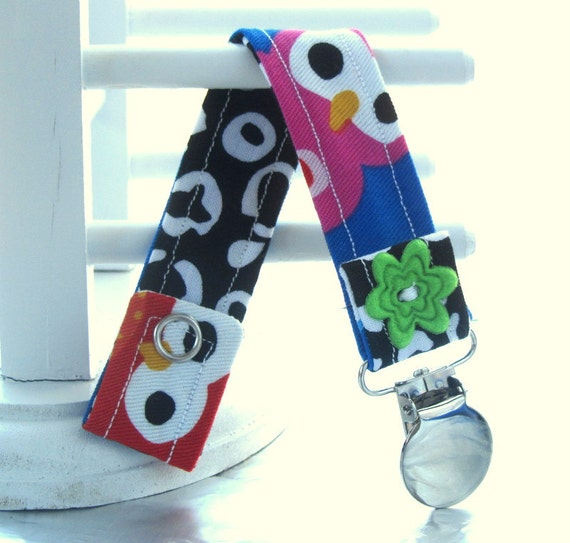 Pacifier Clip with Snaps Double Sided - blue owls with black and white leopard