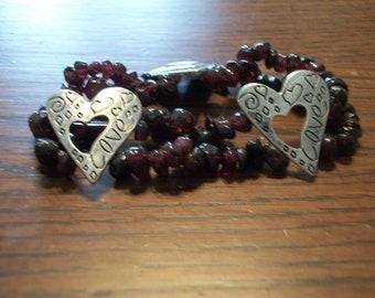 Garnet & Silver Heart Bracelet  Free Shipping