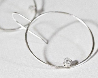 Large Silver Hoop Earrings, Gemstone Earrings, Silver Circle Earrings, White Topaz Earrings, Statement Geometric Earrings, Elissa Earrings