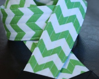 Green Chevron SLR Camera Strap with Leather Ends- Free Shipping