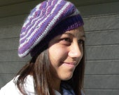 2 Beret pattern options - Plain or Striped, includes knit in the round information