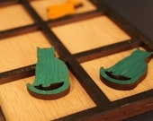 Tic Tac Toe - Cats vs. Fish - hand made and laser cut wooden game
