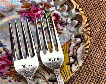 Hand Stamped Mr. Mrs. Wedding Cake Tasting Forks by Blithe Vintage