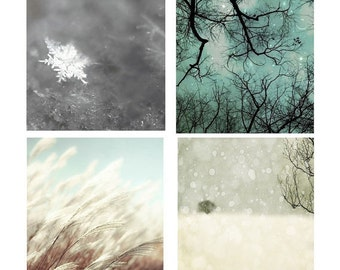 SALE, 4 Photo Set, Winter Art Prints, Blue, Gray, White, Nature Photography, Real Snowflake, Starry Sky,