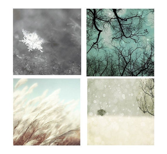 SALE, 4 Photo Set, Winter Prints, Blue, Gray, White, Nature Photography, Real Snowflake, Starry Sky,