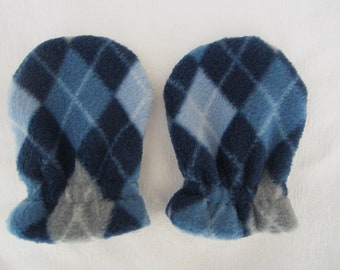 BLUE ARGYLE, infant/toddler fleece mittens