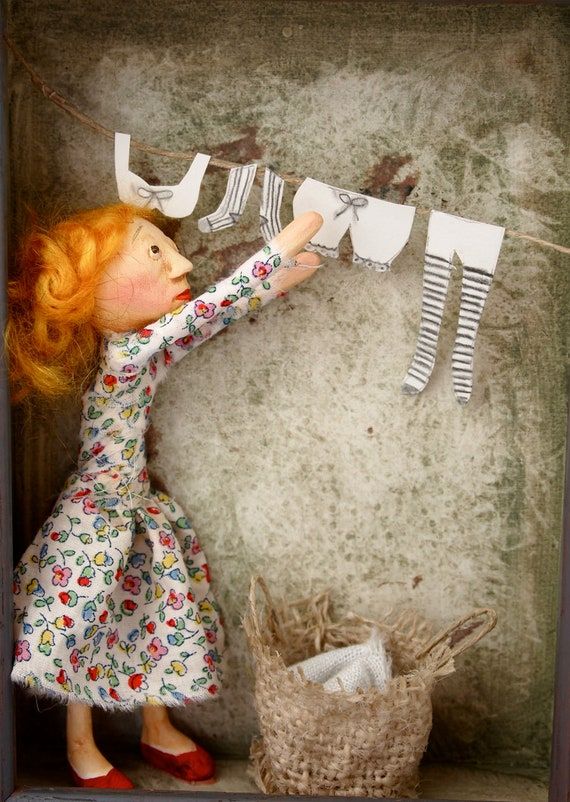 Shadow Box Doll Sculpture girl taking in the laundry