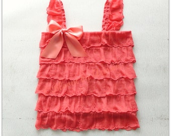 Coral ruffle top infant and toddler sizes available.