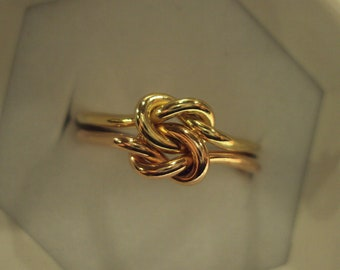Two tone knot ring Etsy