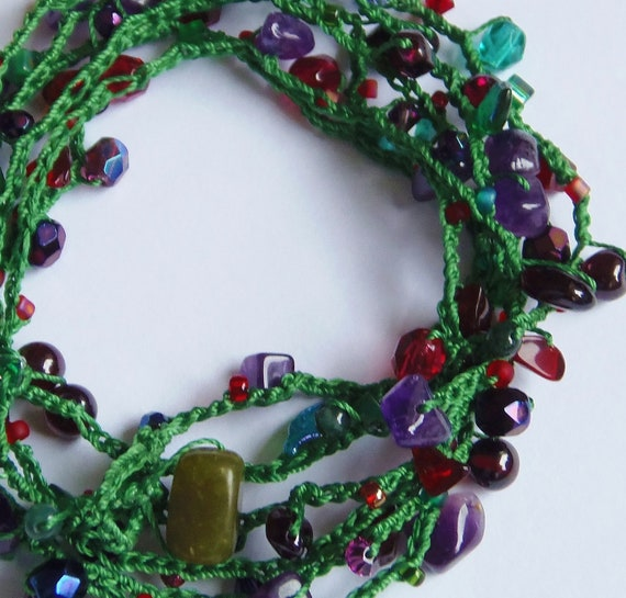 Juicy Berries Bead Crochet Wrap Bracelet with semiprecious stones, crystals and glass beads