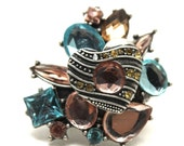 Blue Rhinestones Pink Crystals Metal Heart Stretch Cocktail Ring