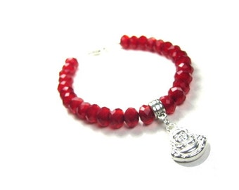 Good Fortune Laughing Buddha Spiritual Bracelet in Ruby Red Crystals, yoga jewelry