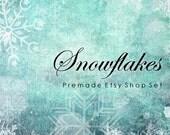 Etsy Shop Set, Premade Banner Set, Chic Store Set, Avatar, Vintage Grunge Aqua Turquoise Blue Holiday Snowflakes