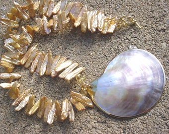 Shell Pendant on Golden Biwa Pearls Necklace