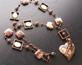 African pink agate heart gemstone necklace with feldspar and black agate on copper -Pink Zebra -Brown, Pink, Cream on Copper
