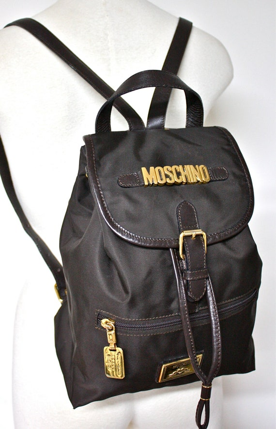 VINTAGE MOSCHINO REDWALL Backpack Brown Leather Nylon Gold Logo Rucksack -Authentic-