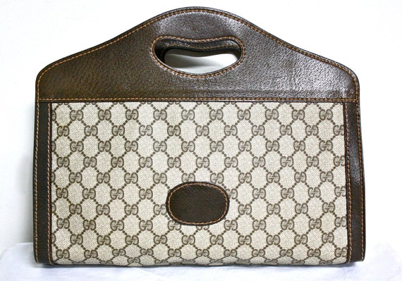 Reserved..........................VINTAGE GUCCI Clutch Brown Leather and Monogrammed Coated Canvas Tote