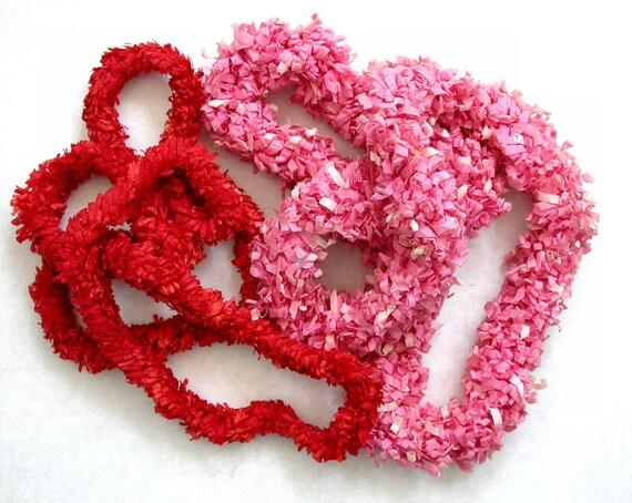 Vintage Paper Leis in Red & Pink