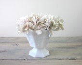Milk Glass Vase with Grape Leaves Pattern