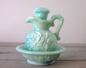 Avon Jade Green Decanter and Bowl with Rose Flower Design