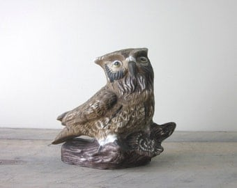 Vintage Brown Owl Figurine