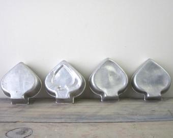 Spade Shaped Tin Jello Mold Set of Four