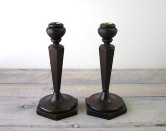 Wooden Mahogany Candlesticks with Brass Inserts