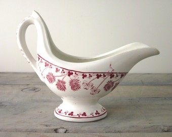 Red and White Transferware China Pitcher Server