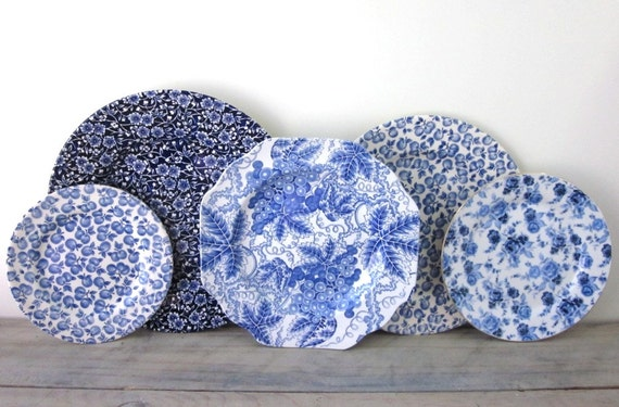 Blue and White China Plates Set of Five Instant Collection