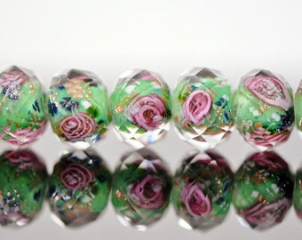 Lampwork Flower Glass Faceted Rondelle Pink Green 9x12mm  -(LL03-3) / 43Pcs