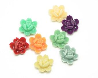 80pcs Mixed 8 Colors Resin Flower Cabochon Wholesale -50007