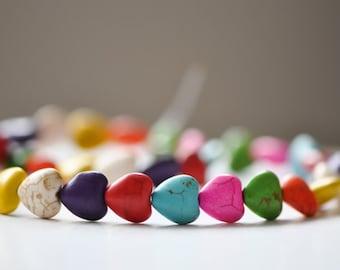 32pcs Howlite Heart beads Multi-color 12mm -V5006