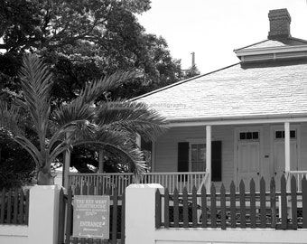 Key West lighthouse gate black and white architecture photograph