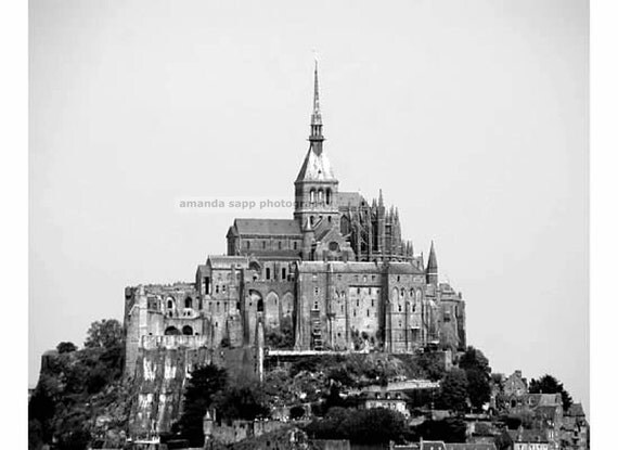 Mont Saint-Michel fine art black and white photograph