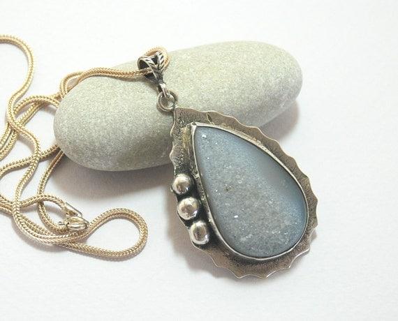 Druzy Quartz Gemstone Pendant Sterling Silver Chain Sterling Silver Necklace