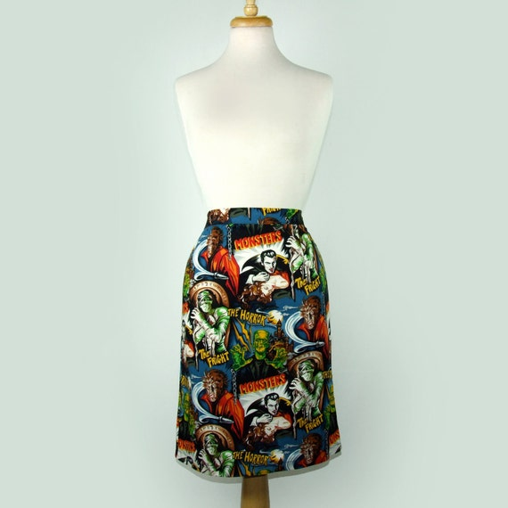 Custom Skirt Your Measurements/  Day of the Dead / Rockabilly/ Choose  Fabric / Loteria   / Senoritas  / Tattoo Art / Monsters / Frida