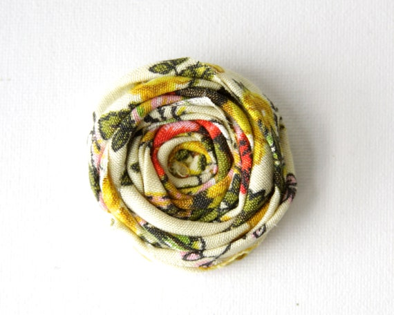 Vintage Fabric Rosette Brooch Couture Flower Brooch Pin 2.25 inch Limited Couture