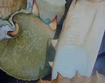 "Original 8"" x 8"" Chesapeake Bay Blue Crab Painting"