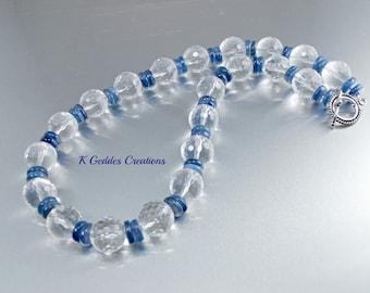 Crystal Quartz Kyanite Statement Necklace Bali Sterling Silver Chunky Gemstone Necklace Luxury Necklace SALE