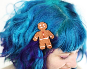 Gingerbread Man Hair Clip, Christmas Barrette, Brown with Orange Rhinestones