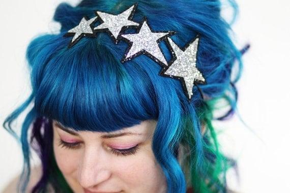 SALE - Woman's Hair Band Stars Headband, Glitter, Various Colours - Christmas In July CIJ