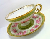 JP L France Teacup and Saucer, Light Green with Pink Roses Gold Trim, Circa 1900 - MemoriesofYesterday