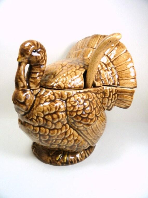 Glazed Ceramic Turkey Gravy Boat Vintage Thanksgiving
