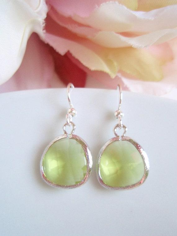 White Gold - Apple Green - Faceted Czech Glass Earrings