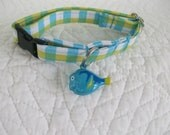 Plaid with Fish Bell Cat  Collar Breakaway Collar with Bell Custom Made