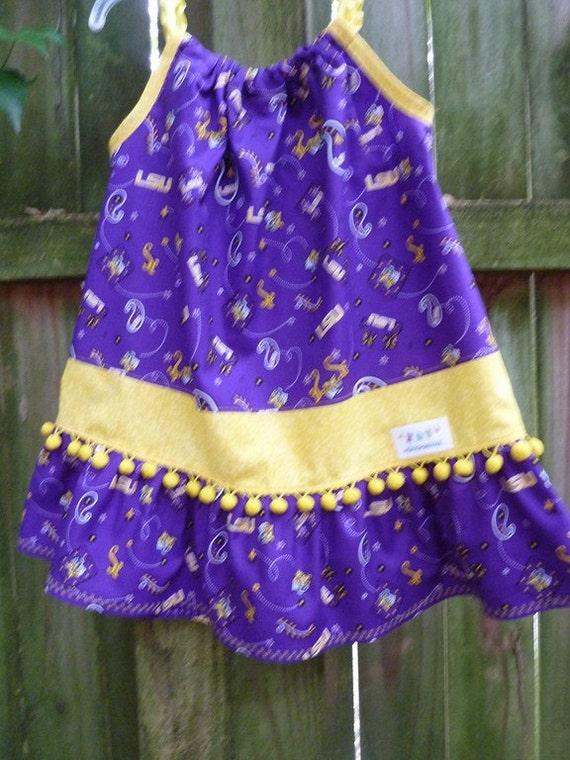 LSU Pillowcase Dress or Top    18m thru 2T   sz 8 girls  mySnicklefritz
