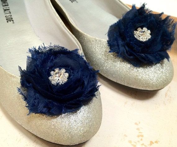 Shabby chic blossom shoe clips in navy, violet purple, grey, leopard, mocha tan with rhinestone centers. Perfect for a chic French look.
